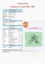 MICHAEL ROSE MANCHESTER UNITED 2000-2001 ORIGINAL SIGNED CUTTING/CARD