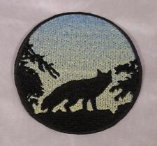 Embroidered Fox In Trees Sunrise Silhouette Ombre Circle Patch Iron On Sew USA