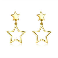 18K Gold Plated Yellow Five-pointed Star Drop/Dangle Earrings For Women Jewelry