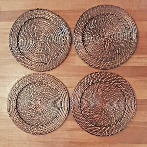 """4 Wicker Rattan 13"""" Round Charger Plates Woven Table Decor Rich Dark Brown"""