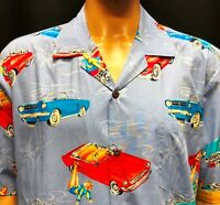 New Pacific Legend Hawaiian Shirt Mens XL Vintage Cars Pinup Girls Corvette USA