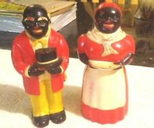 "Rare Old Vintage Black Americana Chef & Mammy Shakers 5 1/4"" Tall 1930/40""s"