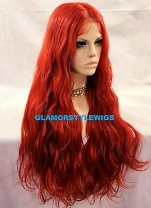 HUMAN HAIR BLEND 3 WAYS PART LACE FRONT FULL WIG EXTRA LONG WAVY LAYERED RED NWT