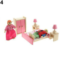 KIDS WOODEN FAMILY MINIATURE DOLLS FURNITURE DOLL HOUSE ROOM SET TOY