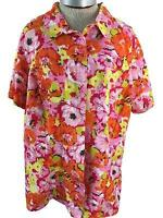White Stag button down top Size 2X 18 20W bright floral orange pink short sleeve