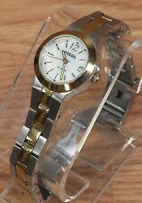 Genuine Fossil (AM-4260) Women's Two Tone 10 ATM Analog Wrist Watch *READ*