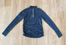 ATHLETA Fastest Track Jacket Long Sleeve Black Heather Half Zip Pullover SZ M