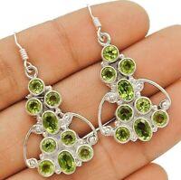 4CT Peridot 925 Solid Sterling Silver Earrings Jewelry CD23-5