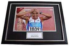 Kelly Holmes SIGNED FRAMED Photo Autograph 16x12 display Olympic Inscription COA