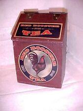 "RED ROOSTER BRAND TEA Painted Folk Art  Wooden TEA Box 7 7/8"" H X 5 1/4"" W X 4"""