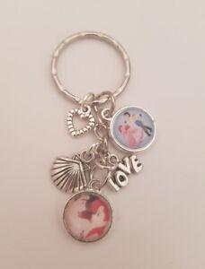 Ariel Little Mermaid & Prince Eric Love Valentines  Keyring Bag Charm, Gift Cute