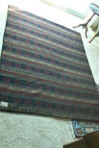 Woolrich Horse Blanket 55 x 69 soft backing Aztec design dark red, black stripe
