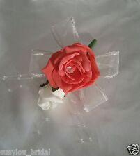Mariage en boutonnière/corsage corail & ivoire roses ivoire ruban ball sprays