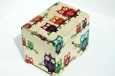 Wood handmade hinged lockable medium trinket chest box decoupage Owl