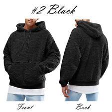 Mens Winter Warm Faux Fur Teddy Bear Sweatshirt Hoodie Hooded Tops Pullover