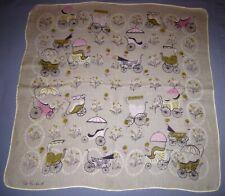 Vtg Signed Pat Prichard Linen Handkerchief Hankie Pink/Tan Baby Buggy/Carriage!