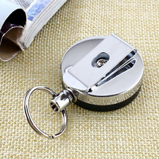 Recoil Extendable Metal Wire 60cm Retractable Key Chain Ring Clip Pull Keyring