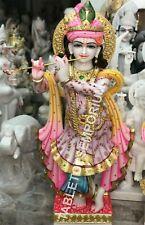 "48"" Marble Krishna Statue Hand Painted Sculpture Religious Temple Decor E1501"