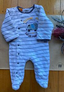 Pumpkin Patch baby boy size 3-6 month white stripe padded one-piece elephant GUC