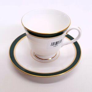 Howard Royal Worcester, Fine Bone China Cup & Saucer  | Deep green & gold detail