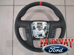 11 thru 14 F-150 OEM Ford Leather Red Accent Steering Wheel w/ Switches RAPTOR
