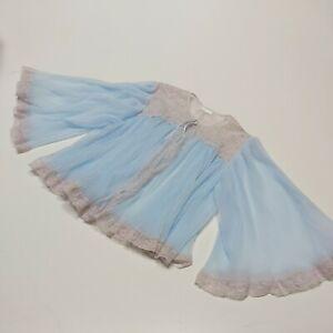 60's   baby blue   Nylon bed glamour boudoir  sissy jacket  Angel sleeves