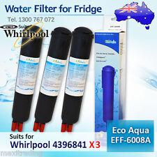 3x 4396841 Whirlpool External Fridge Filter Generic Replacement EcoAqua EFF-6008