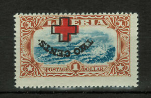 Liberia ERROR Inverted Center 1918 Local Motifs Surcharged 2c on $1 #3484
