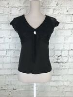 NEXT - Black Short Sleeved Patterned Trim Casual Top - Womens - Size 12 Petite