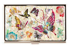 Swallowtail Mother Of Pearl MOP Business Credit Name ID Card Case Holder Metal
