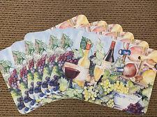 Keller Charles Set of 6 Place Mats Wine Bottles Grapes