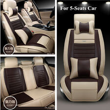 9Pcs PU Leather Front+Rear Cushion Seat Cover for 5-Seats Car Coffee with Beige