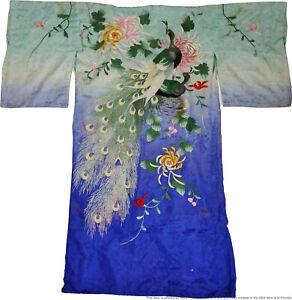 Vintage Antique Japanese Silk Embroidered Peacock Kimono Robe Art Deco Nouveau