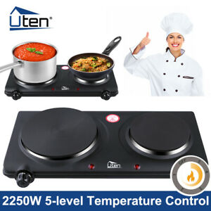 2250W PORTABLE ELECTRIC COOKER DOUBLE HOB HOT PLATE TABLE TOP BLACK HOTPLATE