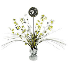 50th Birthday Spray Centrepiece Table Decoration Black Silver Gold Age 50 Party