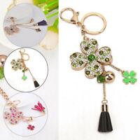 Gift Fashion Pendant Four Leaf Clover Keychain Car Crystal Key Ring Jewelry