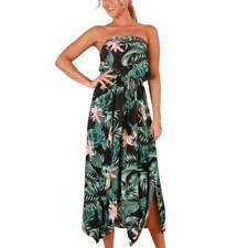 Women Strapless Floral Maxi Dress Tube Top Casual Long Skirt Beach Sundress S-XL