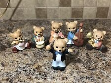 Homco Music Band Bears #1422 Set of 6 Porcelain Figurines Flute Drums Tuba Cello
