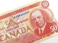 1975 Canada 50 Fifty Dollar Uncirculated EHN Prefix Crow Bouey Banknote R288
