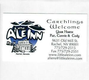 Earthlings Welcome Little A Le Inn Rachel Business Card UFO Area 51 Alien Storm