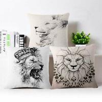"Roaring lions Cotton Linen Throw Pillow Case Cushion Cover Home Decor 18""*18"""