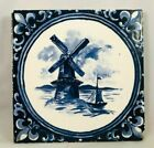 """Antique Hand Painted Blue Windmill Scenic Tile Holland Delft Style 6"""" x 3/8"""" N/R"""