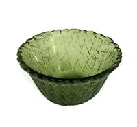 "Vintage Indiana Glass Mid-Century 4.5"" Basketweave Avocado Green Dip Bowl"