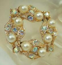 Gorgeous Vintage 1950's AB Rhinestone Faux Pearl Brooch 285AG5