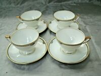 Thomas ROSE POINT 4 Footed Tea Cup & Saucer Sets Black Laurel Bavaria Floral EC