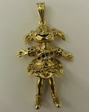 BEAUTIFUL 9CT SOLID GOLD GEM SET CLOWN DOLLY PENDANT WITH BRITISH HALLMARK