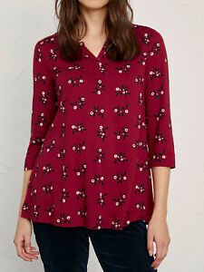 Seasalt shirt top deep red Festive Berries Dahlia Risso size 10 12 14 18 20 22