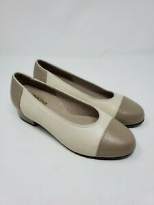 Drew Size 7WW Two Tone Pumps Beige Comfort Wide Career Leather