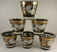 "6 Gold & White Horse 3 1/4"" Tumbler Glasses Unique Hollywood Regency Barware"