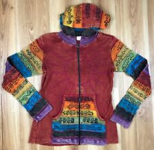 Sunshine Daydream Hooded Jacket Rust Sz S/M Multicolor Zip Front